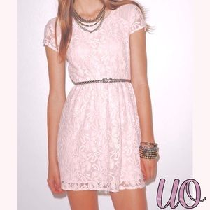Blush Pink Urban Outfitters Lace Dress
